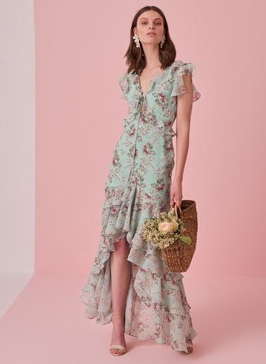 morhipo x dcey Fırfırlı Çiçek Desenli Elbise Yeşil